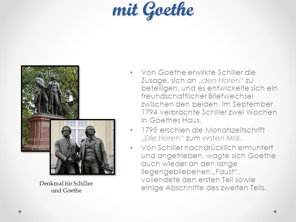 Freundschaftliche Verbindung mit Goethe