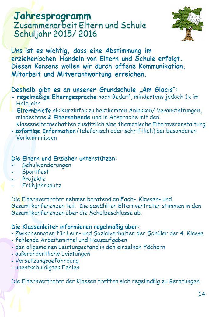 Jahresprogramm Zusammenarbeit Eltern und Schule Schuljahr 2015/ 2016