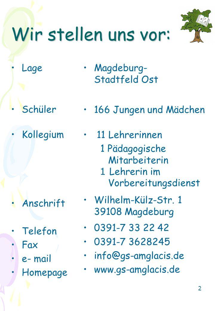 Wir stellen uns vor: Lage Schüler Kollegium Anschrift Telefon Fax