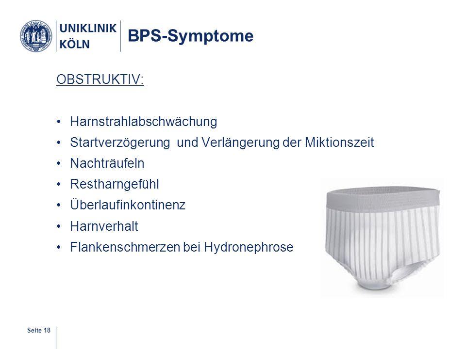 BPS-Symptome OBSTRUKTIV: Harnstrahlabschwächung