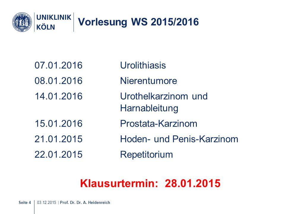 Klausurtermin: 28.01.2015 Vorlesung WS 2015/2016