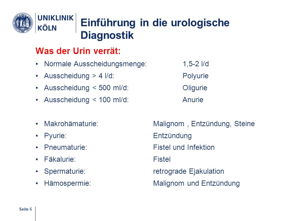 Einführung in die urologische Diagnostik