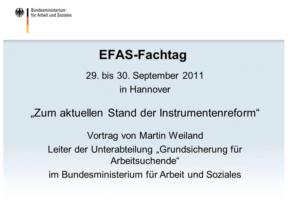 """EFAS-Fachtag """"Zum aktuellen Stand der Instrumentenreform"""