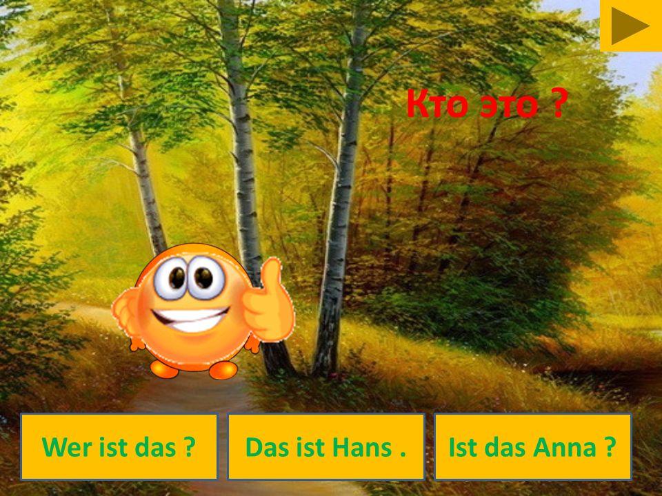 Кто это Wer ist das Das ist Hans . Ist das Anna