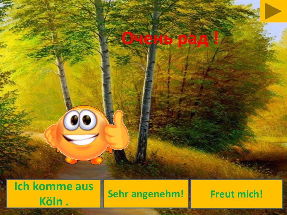 Очень рад ! Ich komme aus Köln . Sehr angenehm! Freut mich!