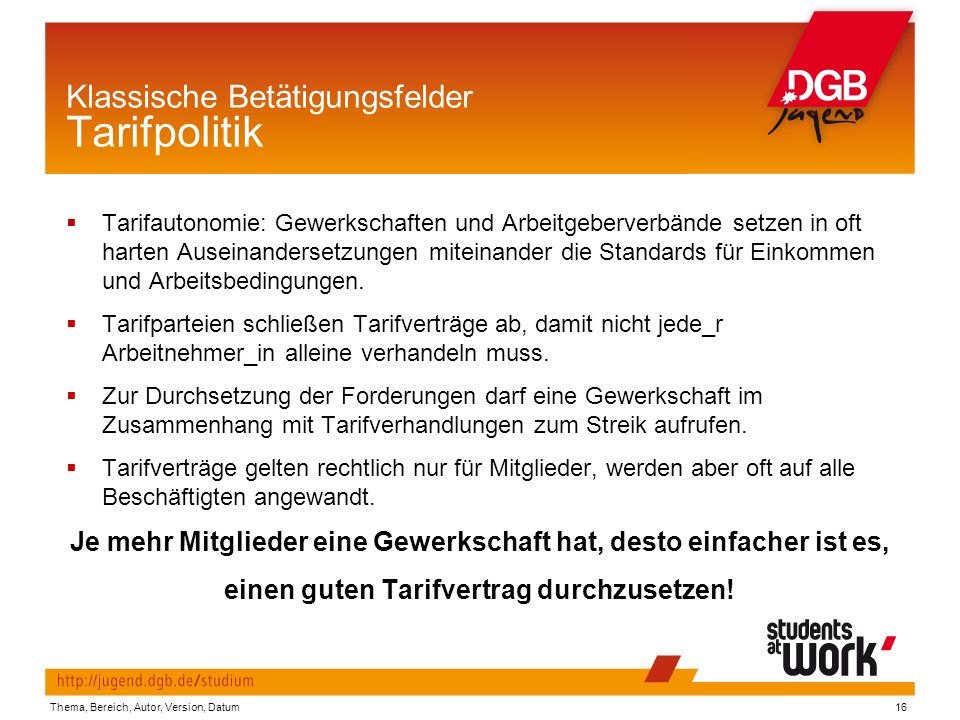 Klassische Betätigungsfelder Tarifpolitik