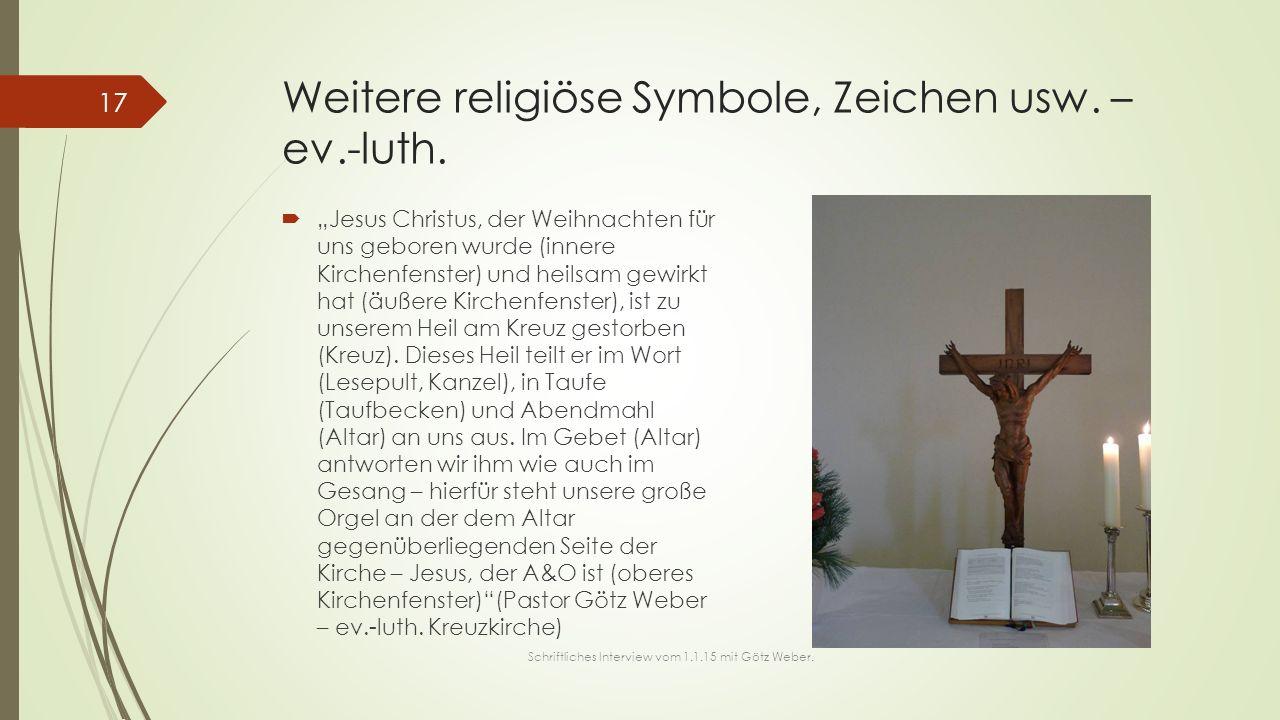 Weitere religiöse Symbole, Zeichen usw. – ev.-luth.