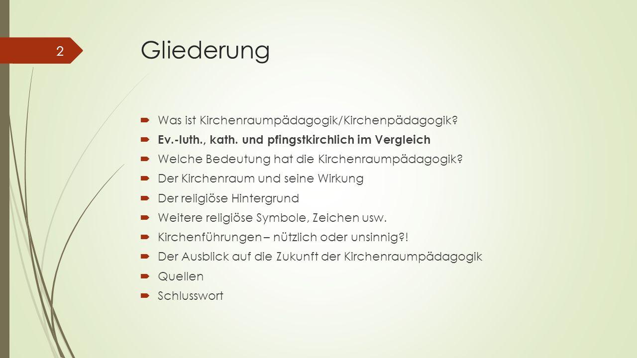Gliederung Was ist Kirchenraumpädagogik/Kirchenpädagogik