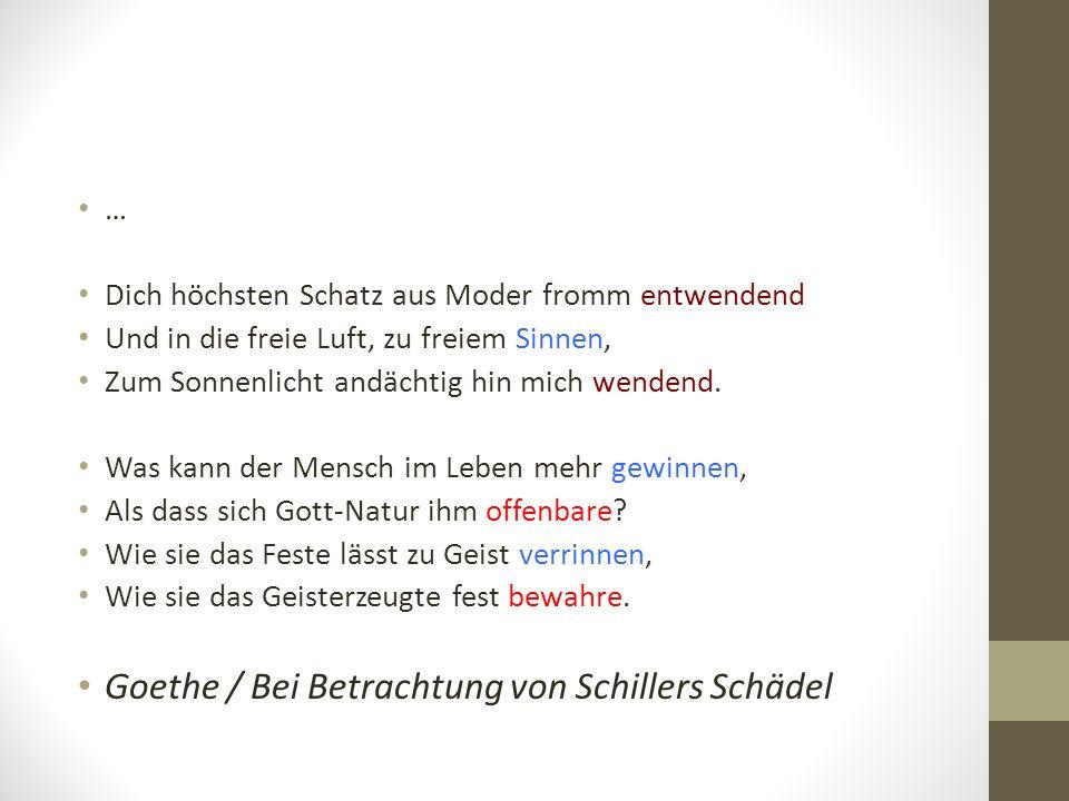 Goethe / Bei Betrachtung von Schillers Schädel