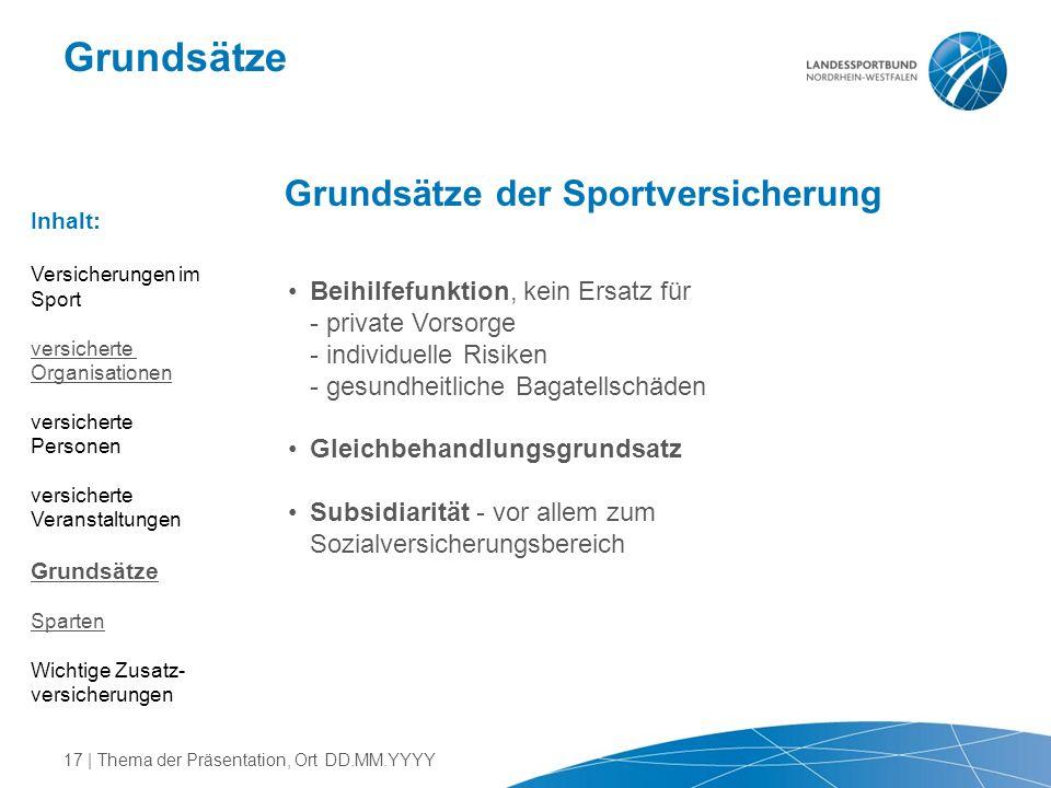 Grundsätze Grundsätze der Sportversicherung