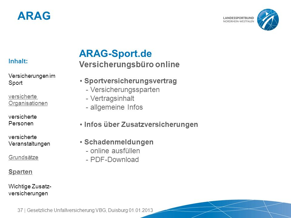 ARAG ARAG-Sport.de Versicherungsbüro online