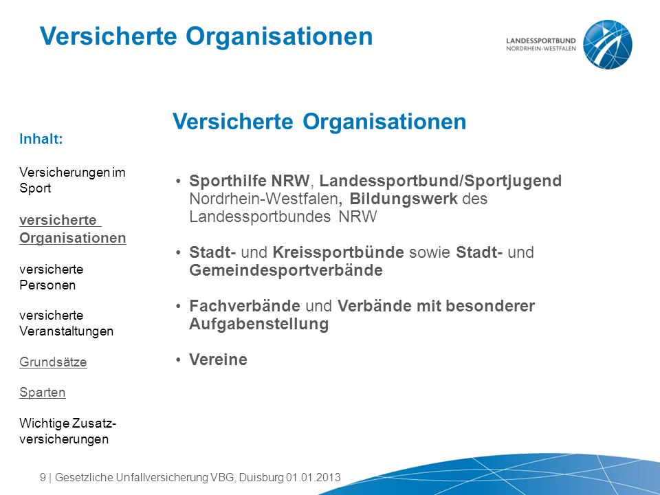Versicherte Organisationen