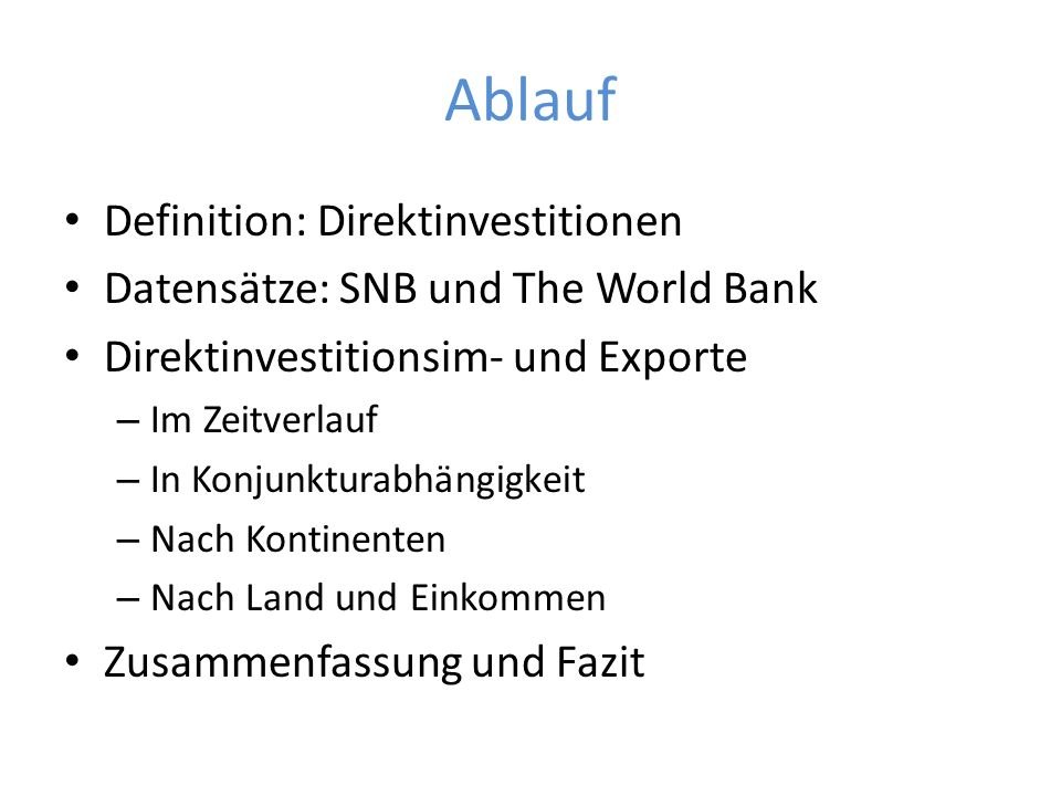 Ablauf Definition: Direktinvestitionen