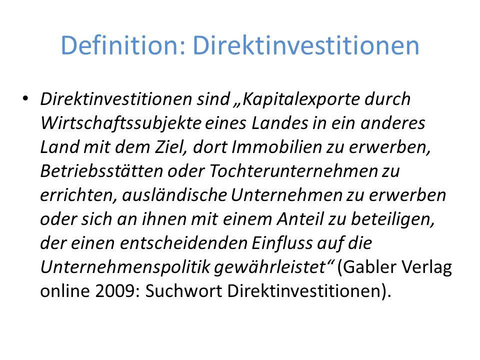Definition: Direktinvestitionen