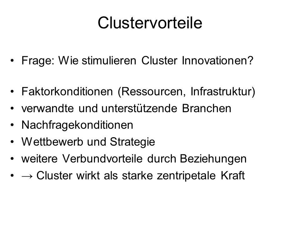 Clustervorteile Frage: Wie stimulieren Cluster Innovationen