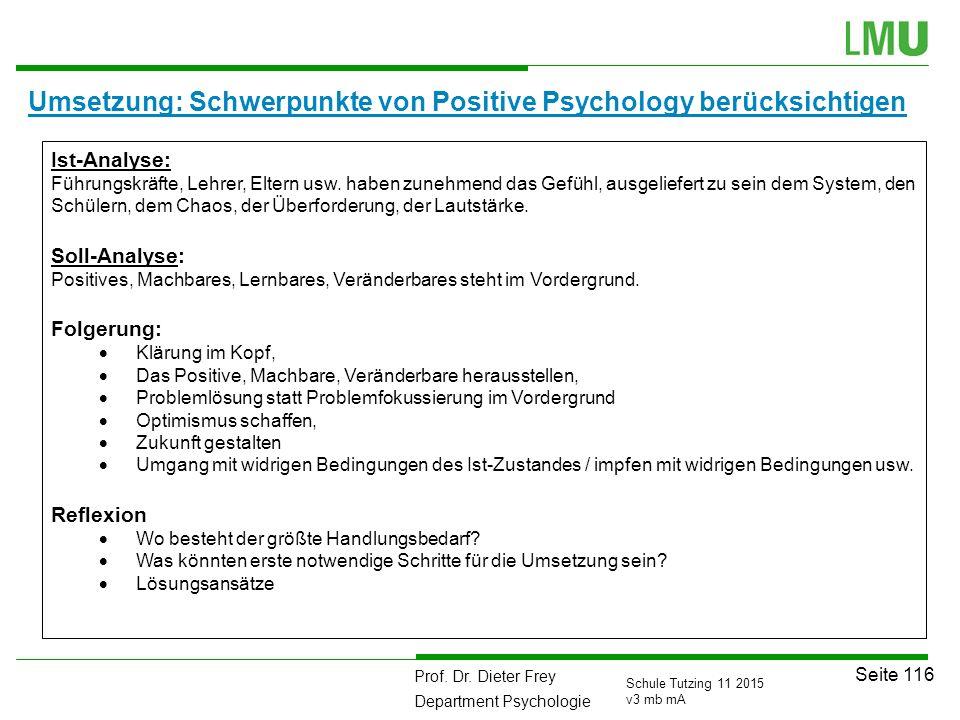 Umsetzung: Schwerpunkte von Positive Psychology berücksichtigen