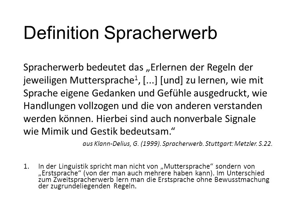 Definition Spracherwerb