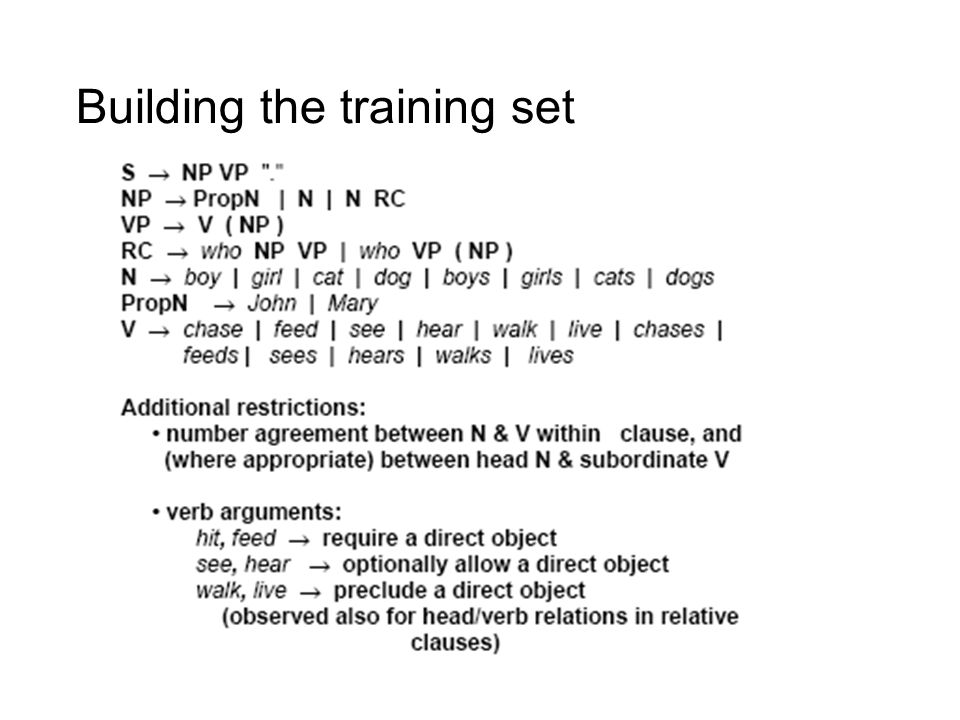Building the training set