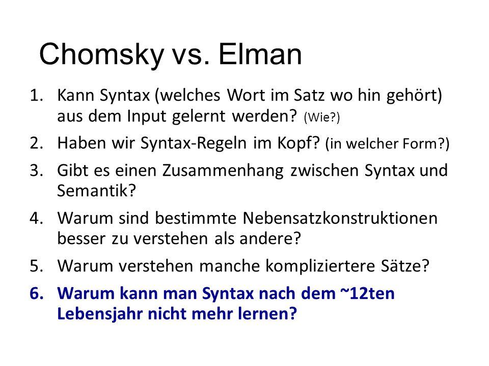Chomsky vs. Elman Kann Syntax (welches Wort im Satz wo hin gehört) aus dem Input gelernt werden (Wie )