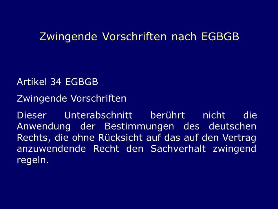Zwingende Vorschriften nach EGBGB