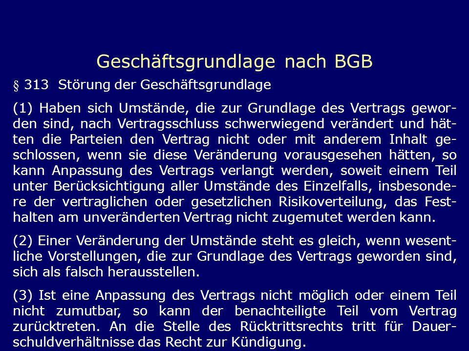 Geschäftsgrundlage nach BGB