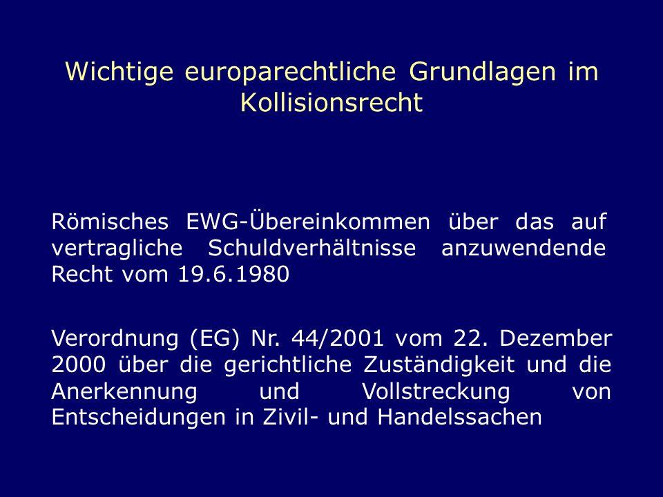 Wichtige europarechtliche Grundlagen im Kollisionsrecht
