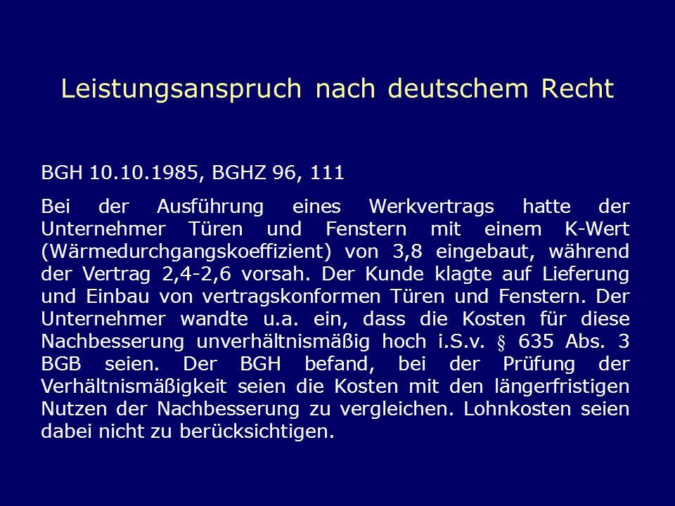 Leistungsanspruch nach deutschem Recht