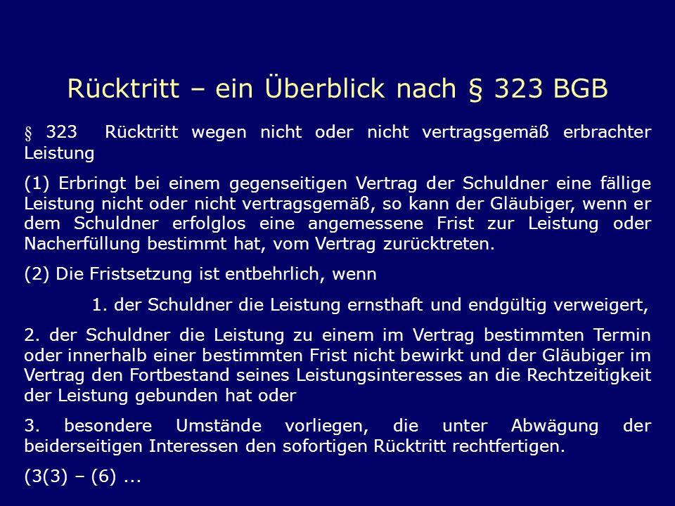 Rücktritt – ein Überblick nach § 323 BGB