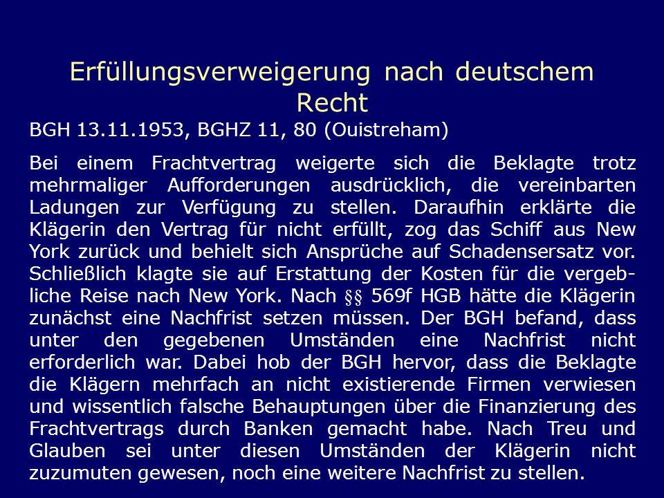 Erfüllungsverweigerung nach deutschem Recht