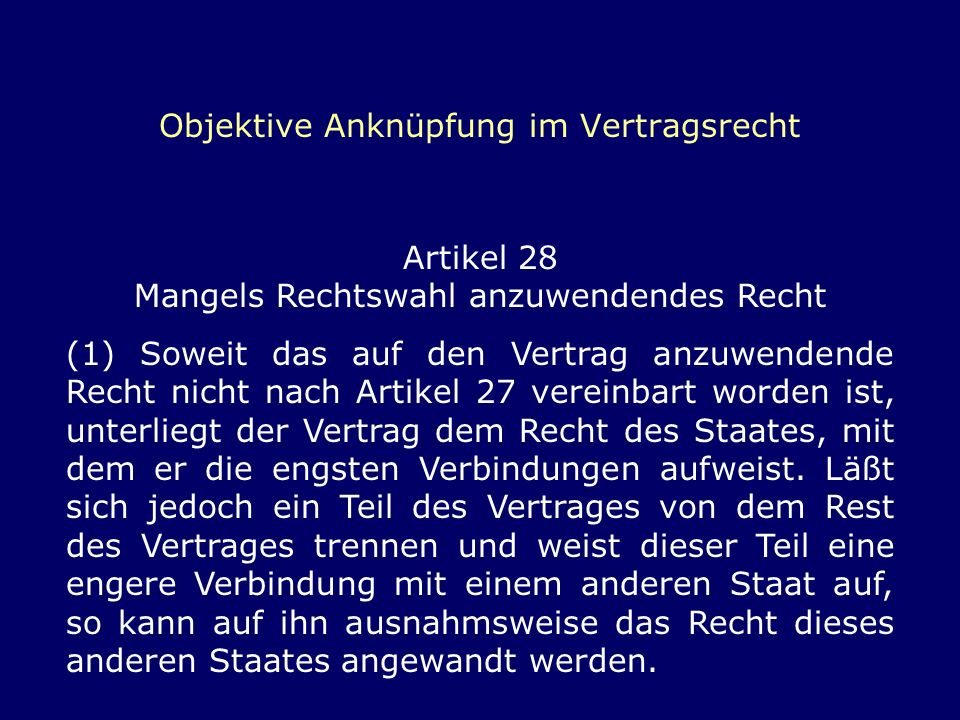 Objektive Anknüpfung im Vertragsrecht