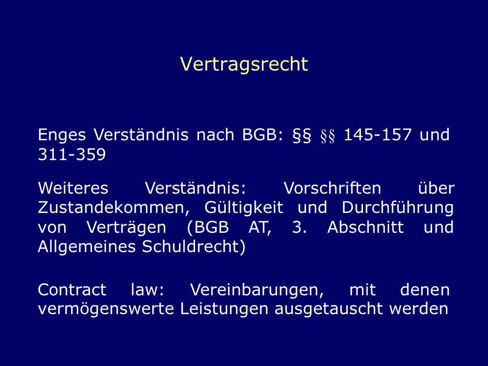 Vertragsrecht Enges Verständnis nach BGB: §§ §§ 145-157 und 311-359