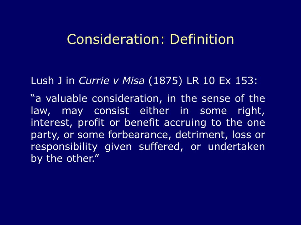 Consideration: Definition
