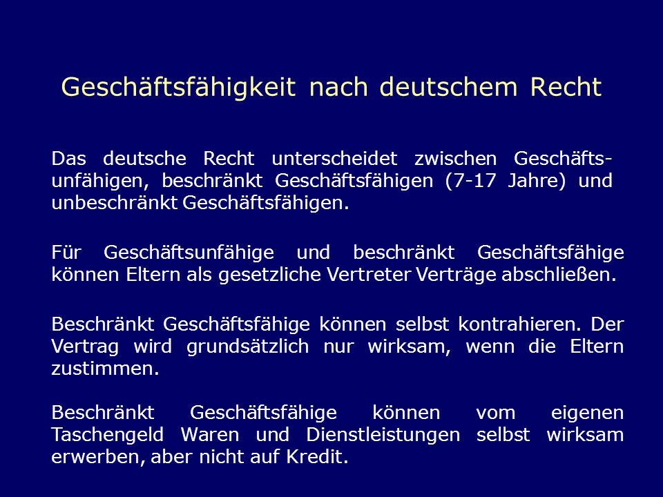 Geschäftsfähigkeit nach deutschem Recht