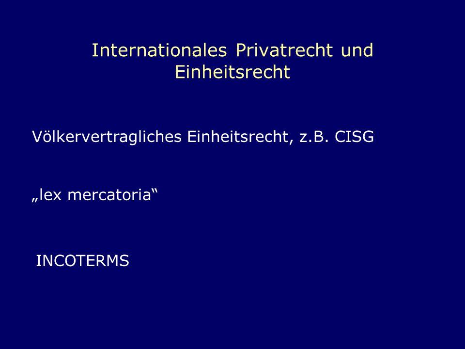 Internationales Privatrecht und Einheitsrecht