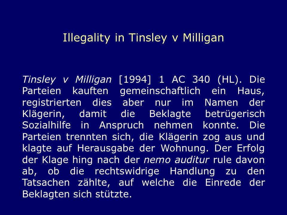 Illegality in Tinsley v Milligan