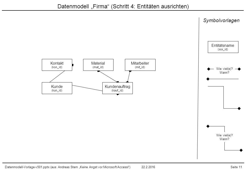"""Datenmodell """"Firma (Schritt 4: Entitäten ausrichten)"""