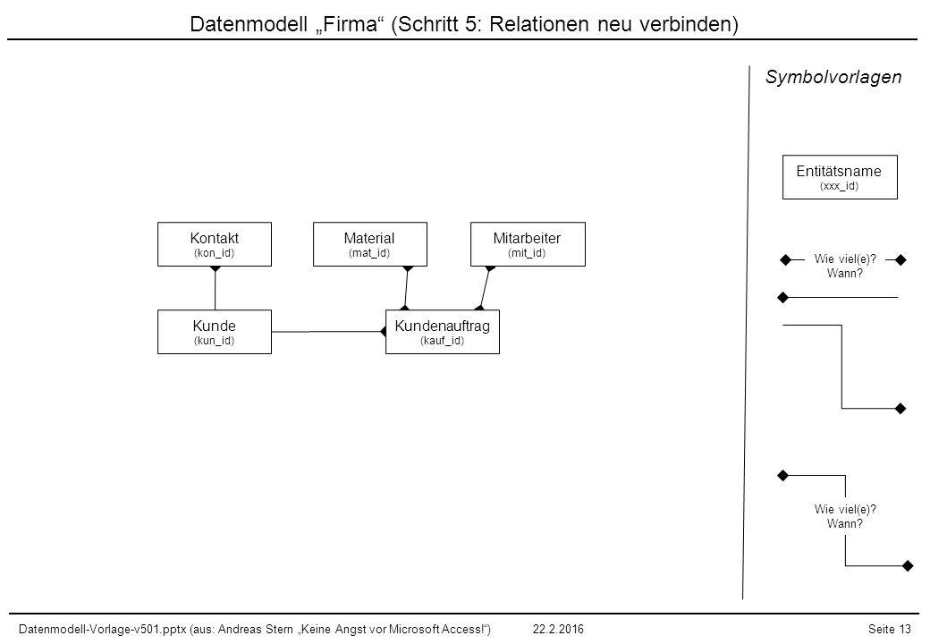 """Datenmodell """"Firma (Schritt 5: Relationen neu verbinden)"""