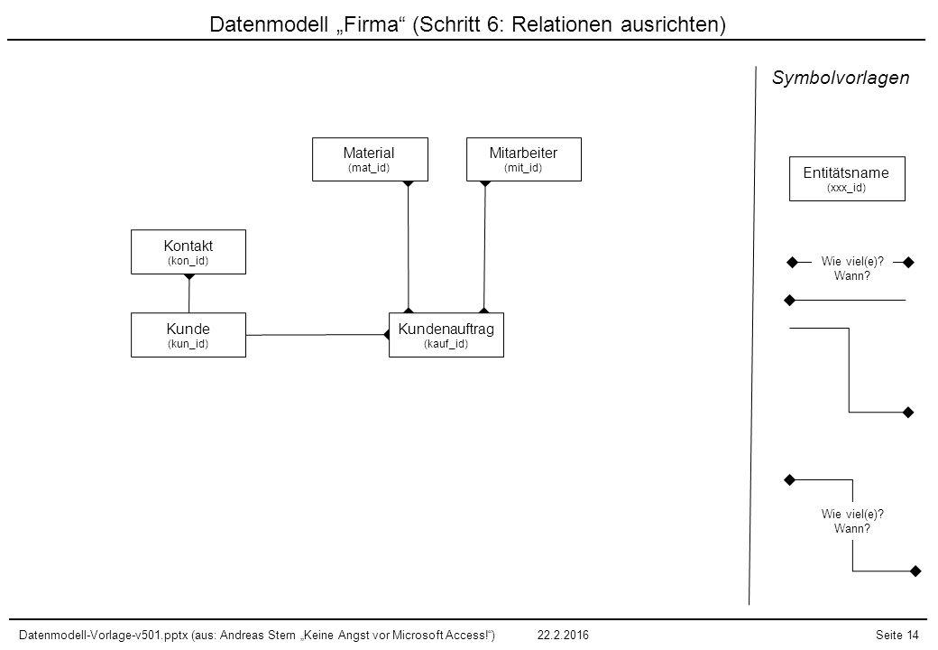 """Datenmodell """"Firma (Schritt 6: Relationen ausrichten)"""
