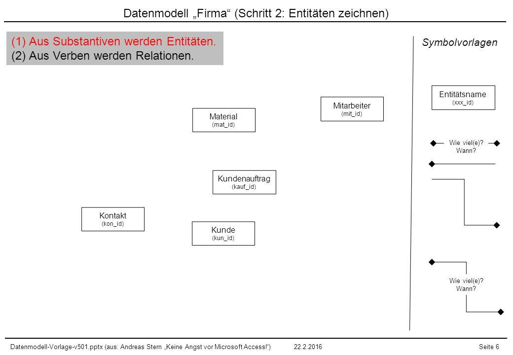 """Datenmodell """"Firma (Schritt 2: Entitäten zeichnen)"""