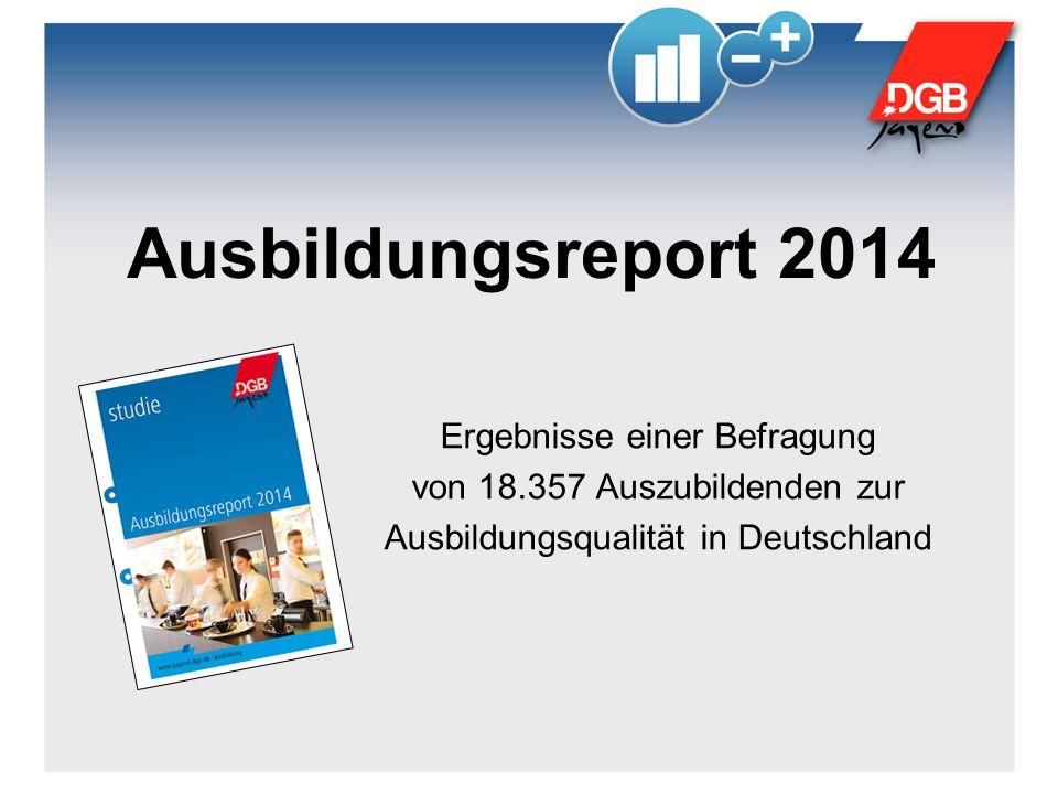Ausbildungsreport 2014 Ergebnisse einer Befragung