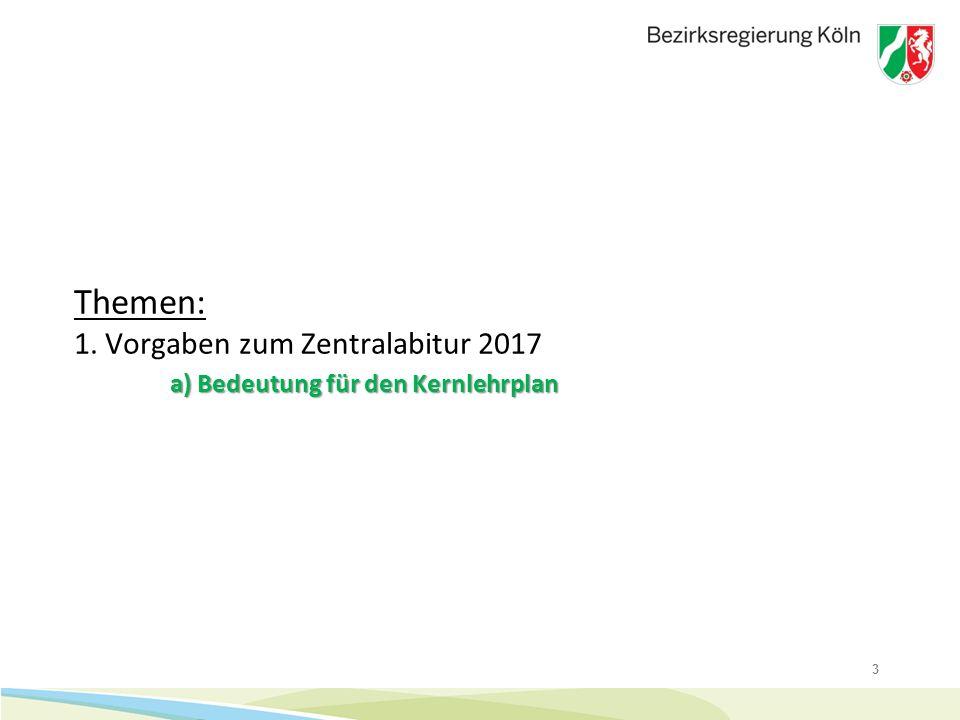 Themen: 1. Vorgaben zum Zentralabitur 2017