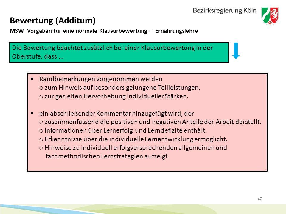 Bewertung (Additum) MSW Vorgaben für eine normale Klausurbewertung – Ernährungslehre.