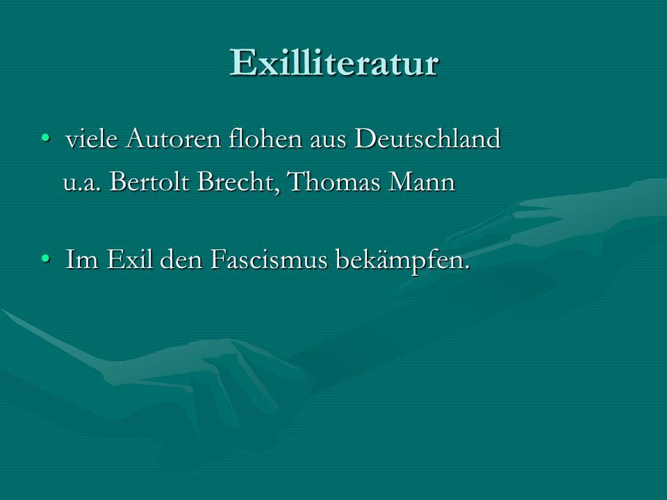 Exilliteratur viele Autoren flohen aus Deutschland