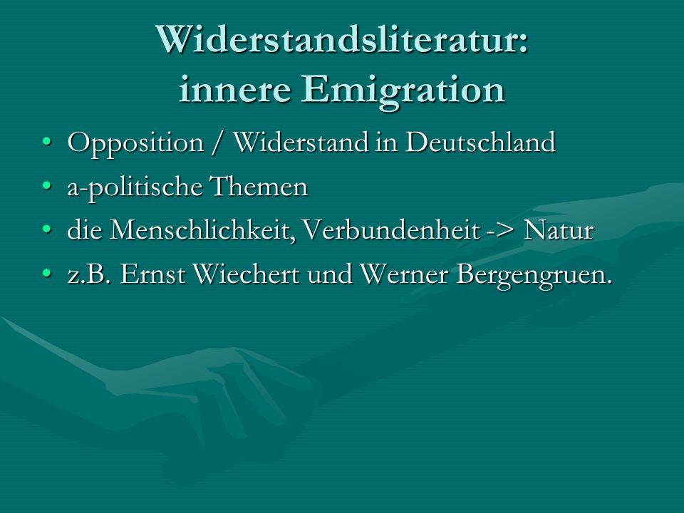 Widerstandsliteratur: innere Emigration