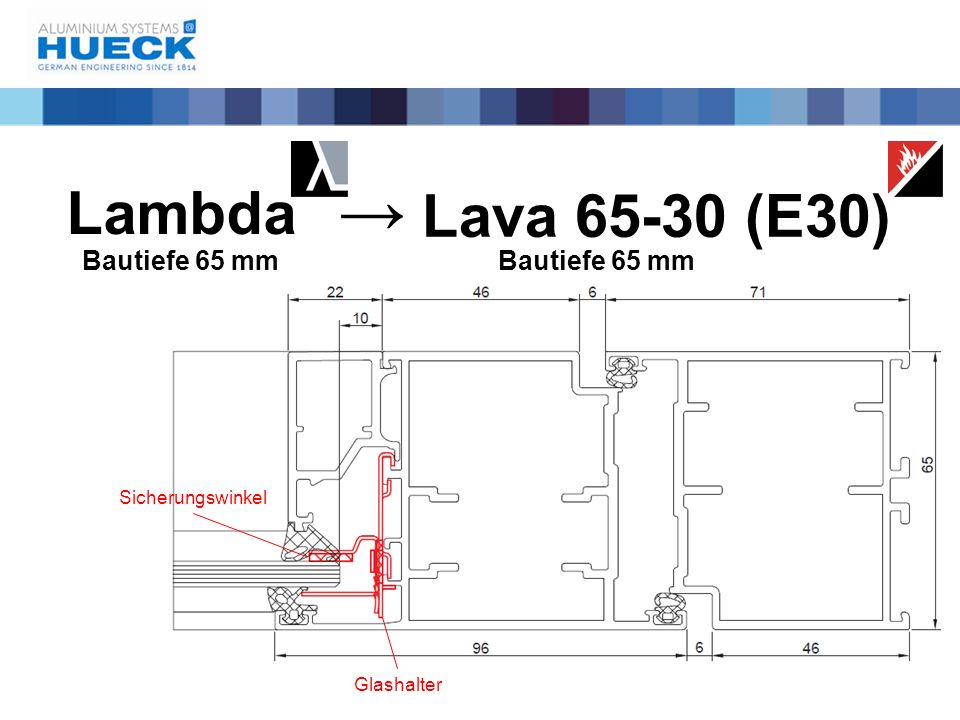 → Lambda Lava 65-30 (E30) Bautiefe 65 mm Bautiefe 65 mm