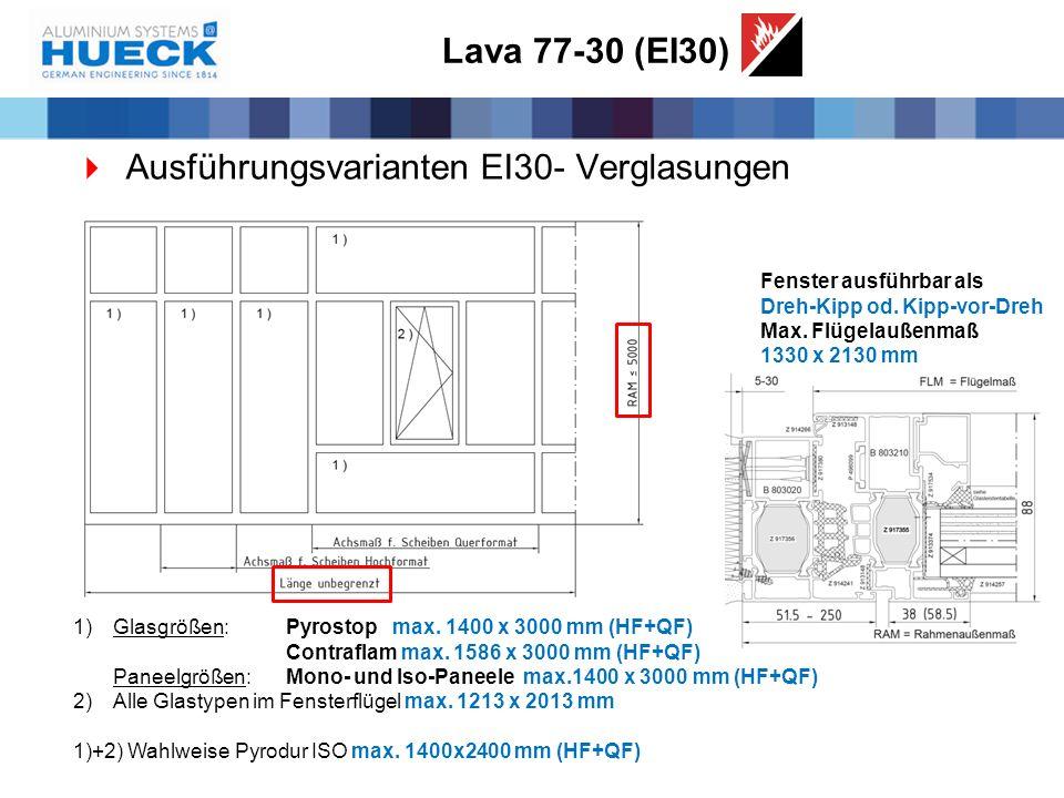 Ausführungsvarianten EI30- Verglasungen