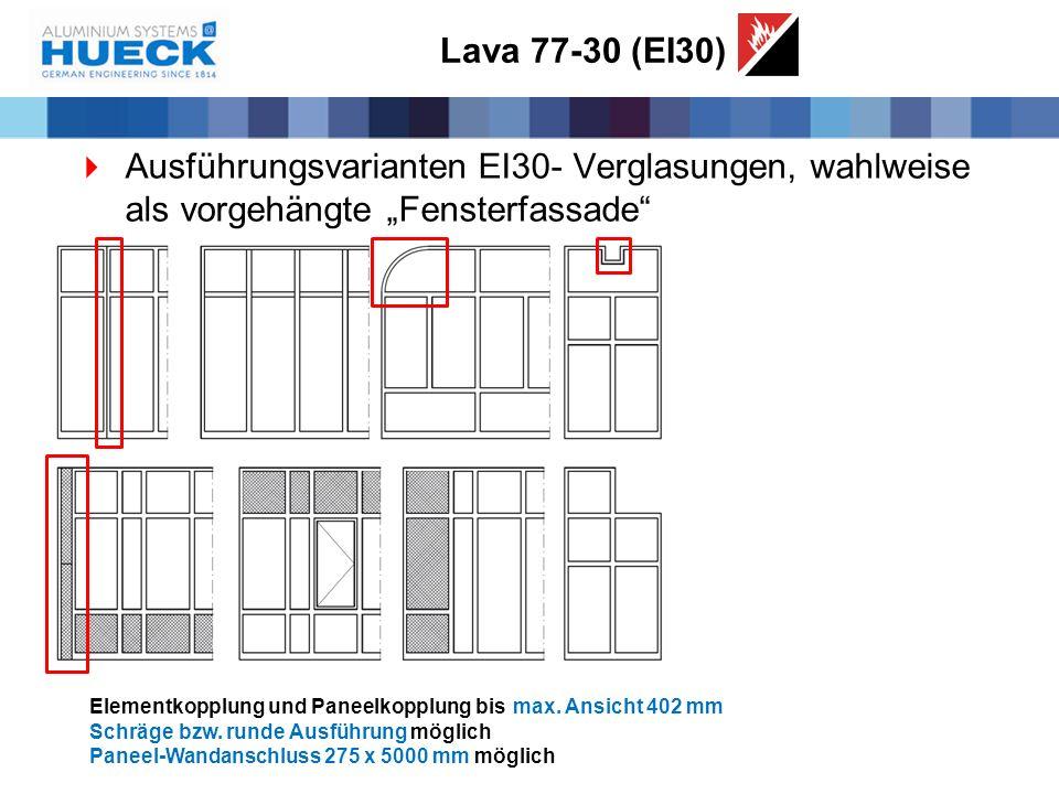 """Lava 77-30 (EI30) Ausführungsvarianten EI30- Verglasungen, wahlweise als vorgehängte """"Fensterfassade"""
