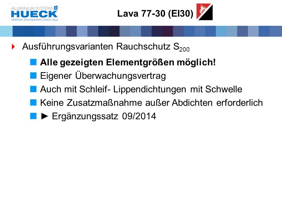 Lava 77-30 (EI30) Ausführungsvarianten Rauchschutz S200. Alle gezeigten Elementgrößen möglich! Eigener Überwachungsvertrag.