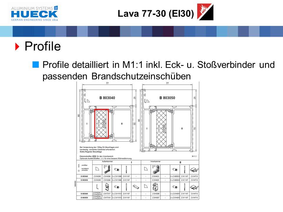 Lava 77-30 (EI30) Profile. Profile detailliert in M1:1 inkl.
