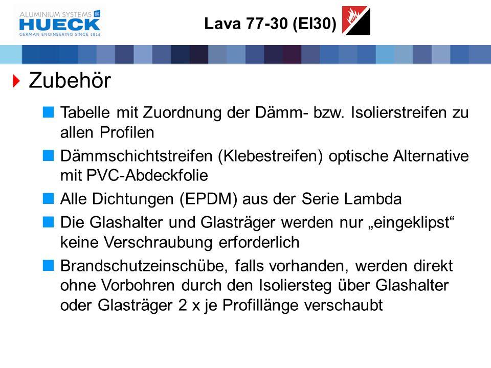Lava 77-30 (EI30) Zubehör. Tabelle mit Zuordnung der Dämm- bzw. Isolierstreifen zu allen Profilen.